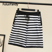 Striped Summer Shorts Women Plus Size XXXL 4XL Casual Loose Knitted Shorts KKFY4430 plus knot front striped cami with shorts