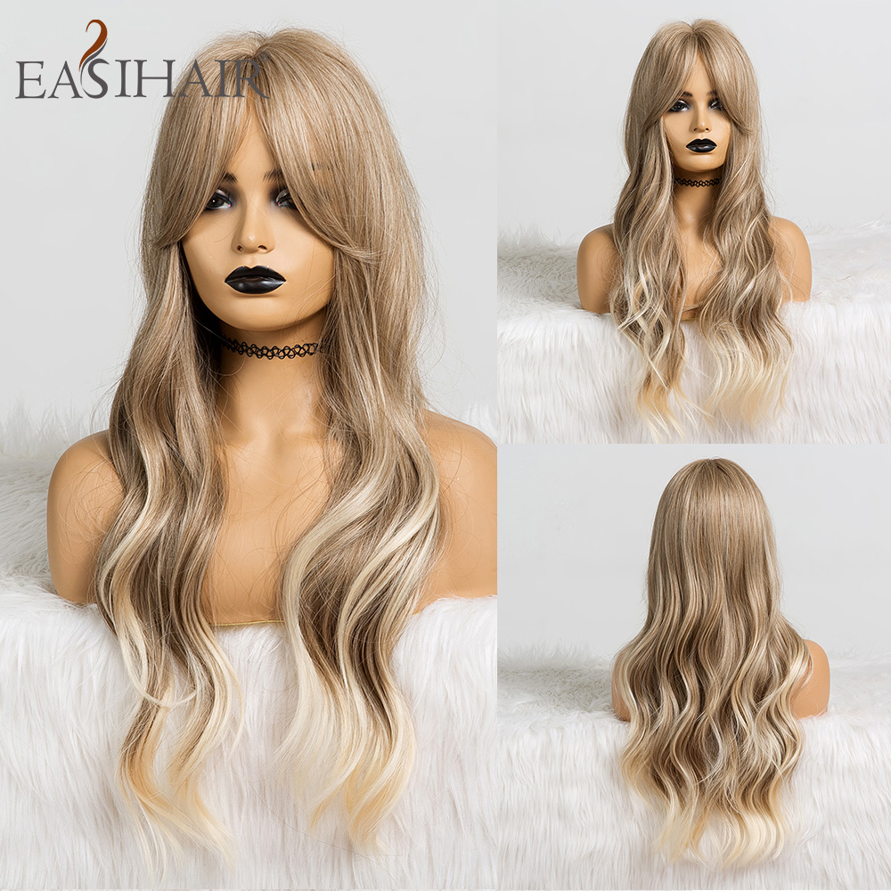 EASIHAIR Long Ombre Brown Blonde Synthetic Wigs For Black Women Wigs With Bangs High Temperature Glueless Wavy Cosplay Wigs Hair