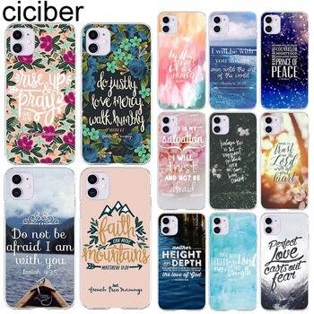 Ciciber étuis de téléphone pour Iphone 11 housse pour iPhone XR 11 Pro 7 X XS MAX 8 6 6S Plus 5S SE Silicone bible citations Funda Coque 1