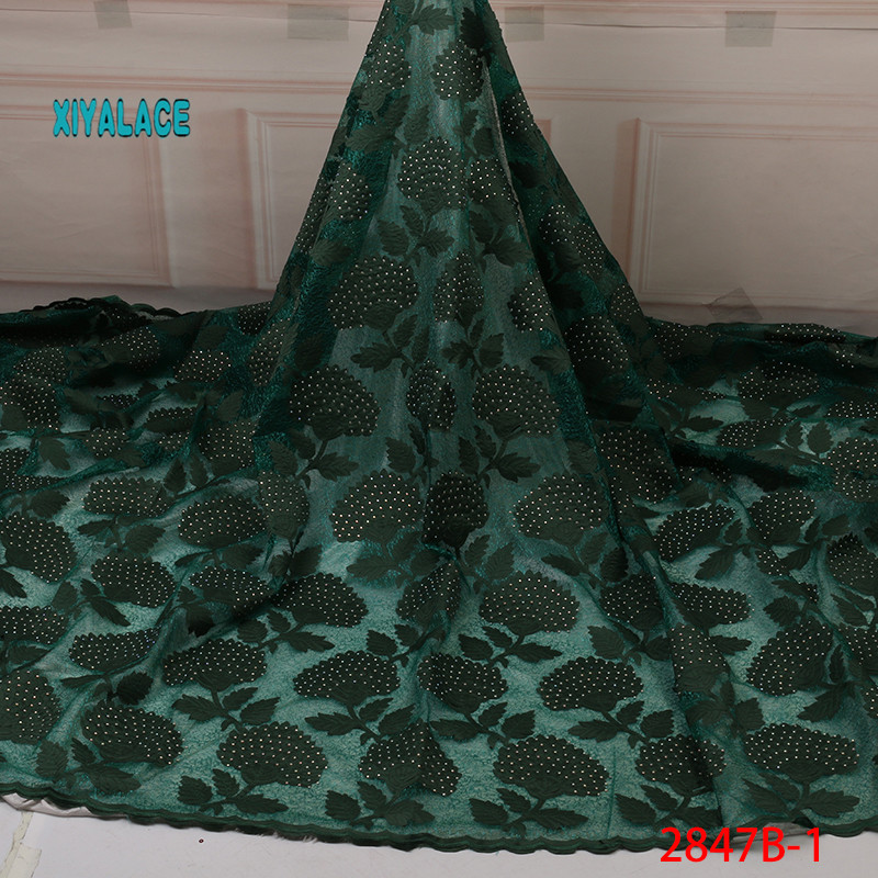 African Lace Fabric 2019 High Quality Lace Nigerian Voile Lace Fabric New Swiss Voile Lace Switzerland Add Stones YA2847B-1