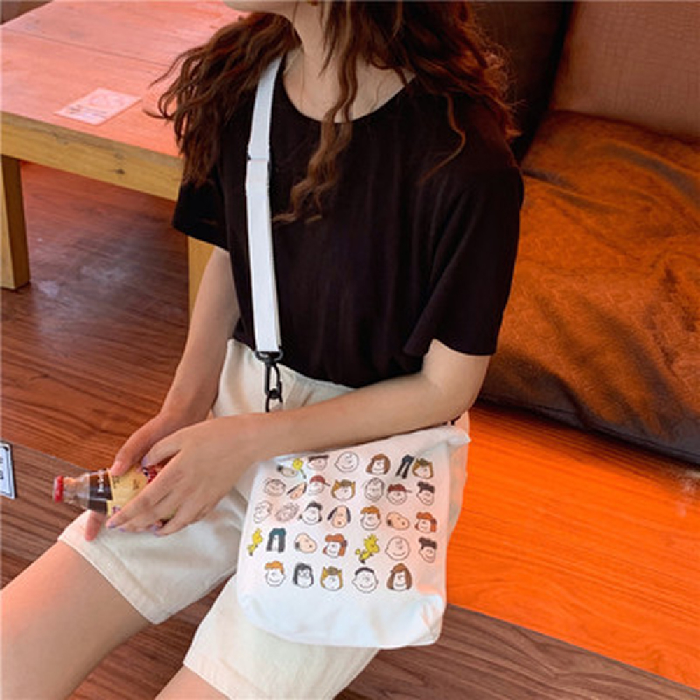 Mini Bucket Shaped Handbags Women's Crossbody Bags Cartoon Printing Shoulder Bag Casual Girl Student Messenger Bag Lady Tote Bag