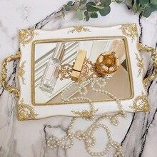 Bandejas para pastel Vintage europeo espejo dorado cristal Cupcake placa Perfume soporte espejo maquillaje bandeja boda fiesta decoración del hogar