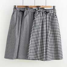 Women Summer Black And White Plaid Wide Leg Shorts High Waisted Cotton Shorts Womens Lace Up Loose Shorts Women