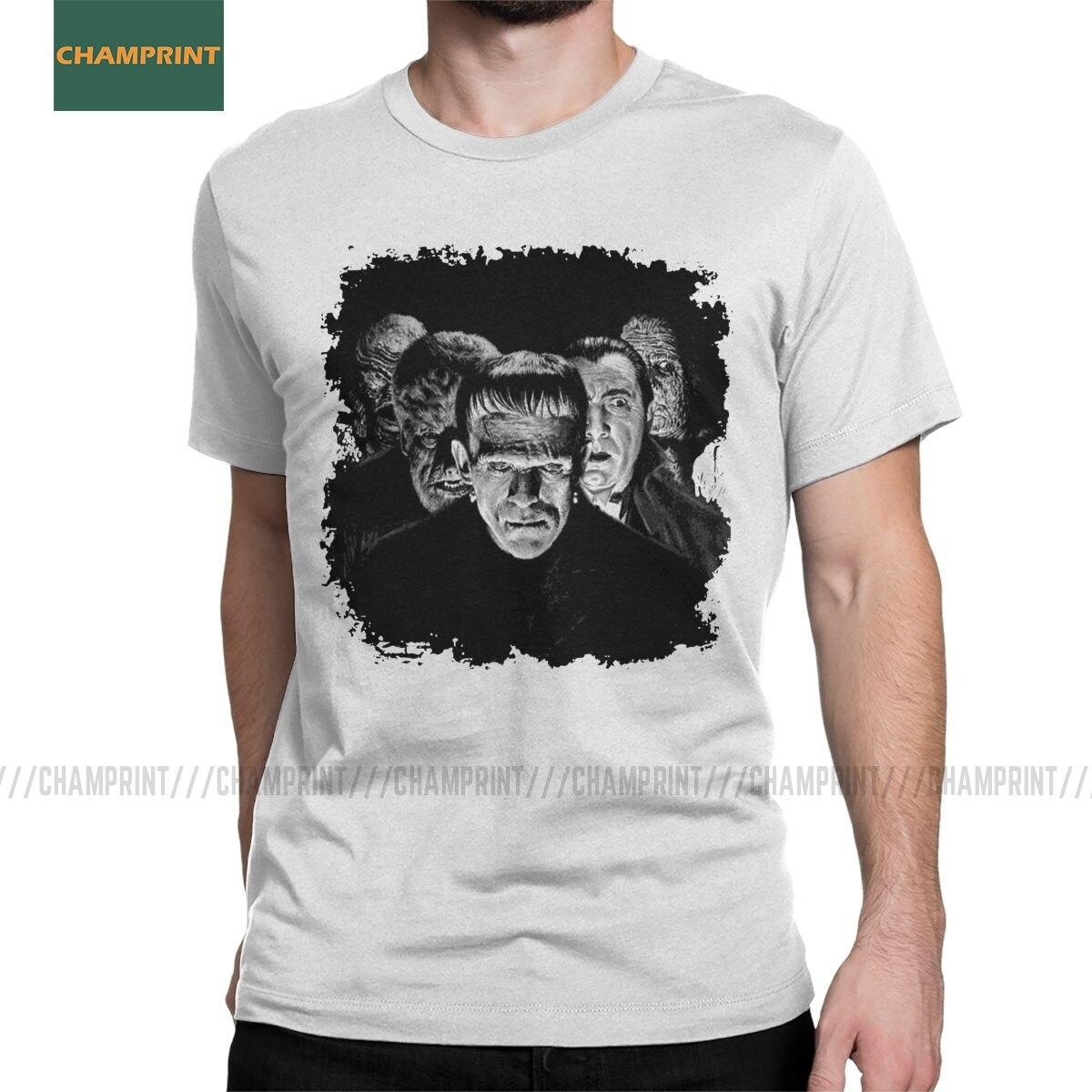 Classic Monsters Pop Frankenstein T-Shirts For Men Monster Karloff Dracula Horror Cotton Tees Short Sleeve T Shirt Classic Tops