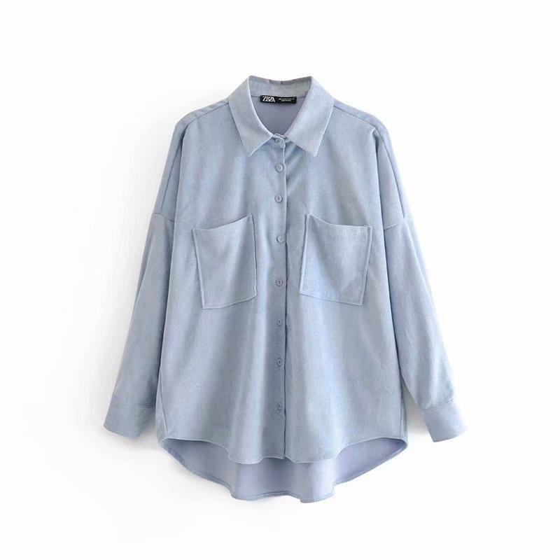 Tangada Women Preppy Oversize Corduroy Shirt Blusas Mujer De Moda Boyfriend Style Shirt Womens Tops 6P59