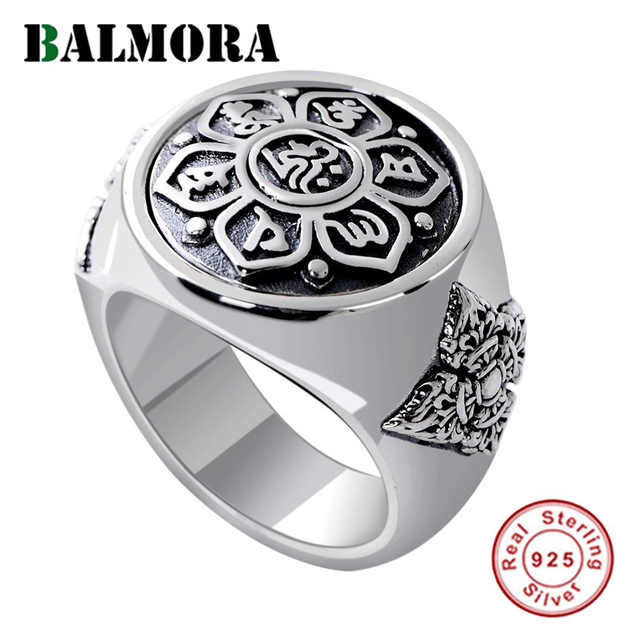 BALMORA Solid 925 Sterling Silver Buddhistic Six Words' Mantra Rings For Women Men Gift Rotated Silver Ring Jewelry SY22037