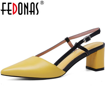 FEDONAS Retro Pointed Toe Summer Sandals For Women Genuine Leather High Heels Pumps Meal Buckle 2020 Newest Fashion Shoes Woman