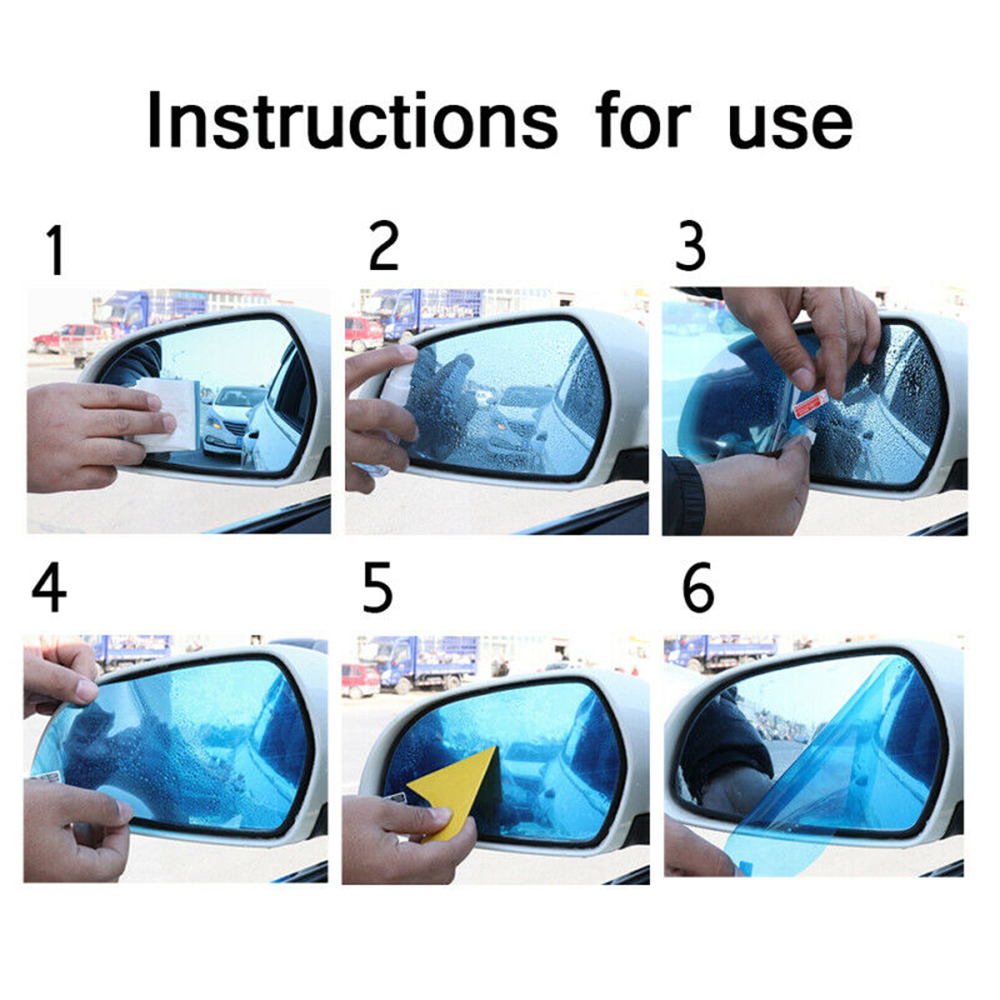 2pcs Square Car Rearview Mirror Anti-Fog Protective Film Accessories Rainproof Light Blue Window Foils Sun Protection