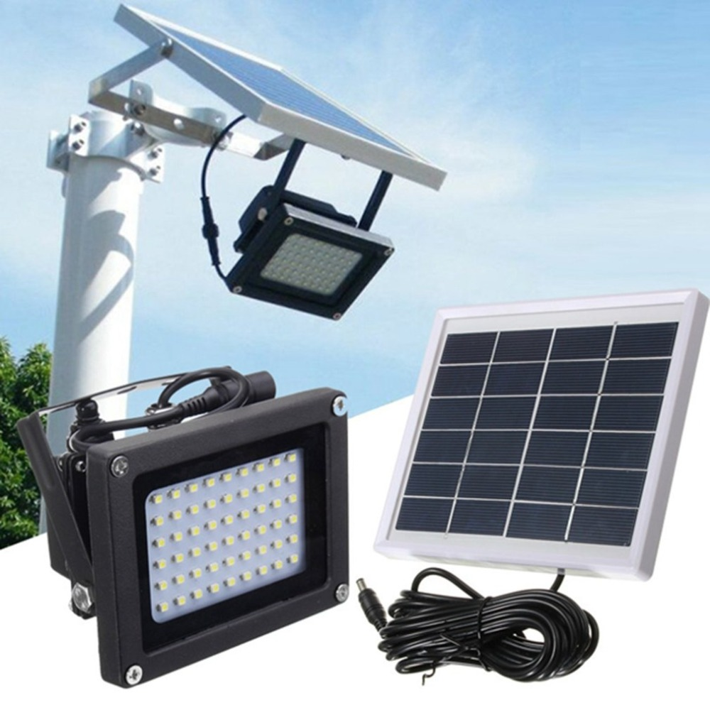 54 LEDs Floodlight Solar Powered Sensor Lamp Light Waterproof IP65 Outdoor Emergency Security Garden Street Flood Light
