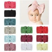 Bebê headwear bowknot elástico headbands cor sólida ampla torção turbante malha crianças princesa crianças acessórios de cabelo natal