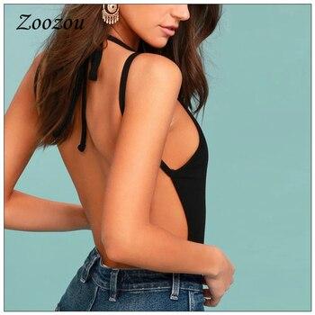 Sexy Black Backless Lace Up Bodysuits Plus Size Sleeveless Slim Bandage Rompers Casual New Wild Bodycon Women Bodysuit Custom 1