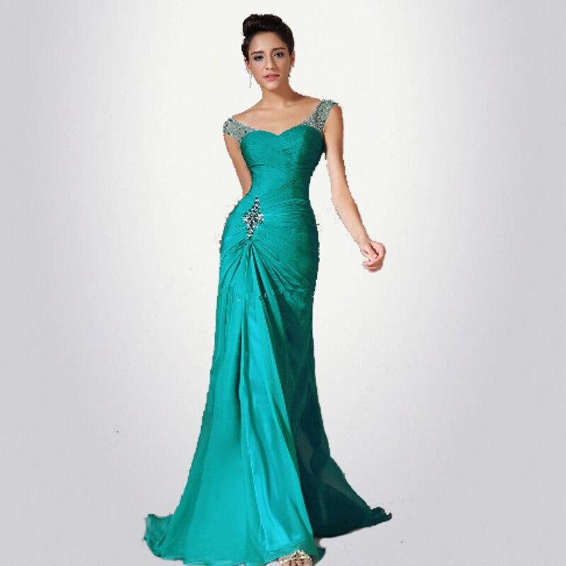 Meilleure vente sirène étage longueur Turquoise en mousseline de soie capuchon manches perlées plis Discount robes de bal robe de soirée robes formelles