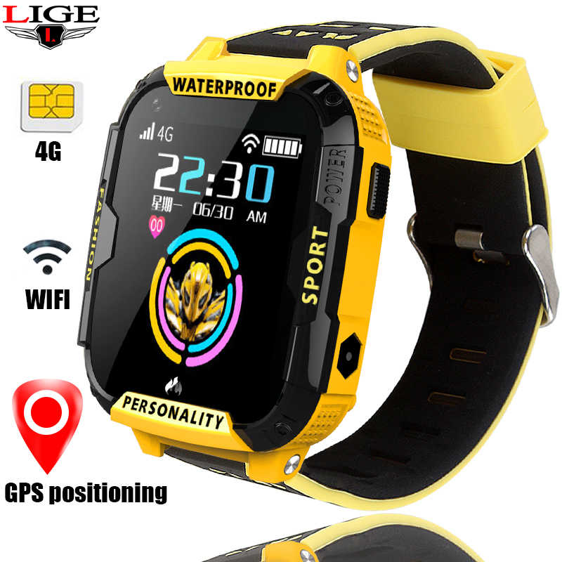LIGE Kids Smart Watch wifi Connection video call GPS location Tracker SOS one Button help 4G SIM card Children's Smart Watch+Box