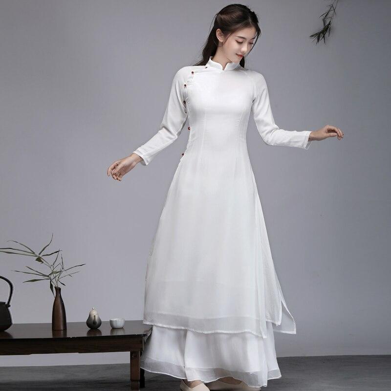 2020 chinese dress cheongsam qipao party oriental evening dress pure white cotton linen women elegant qipao robe retro vestido