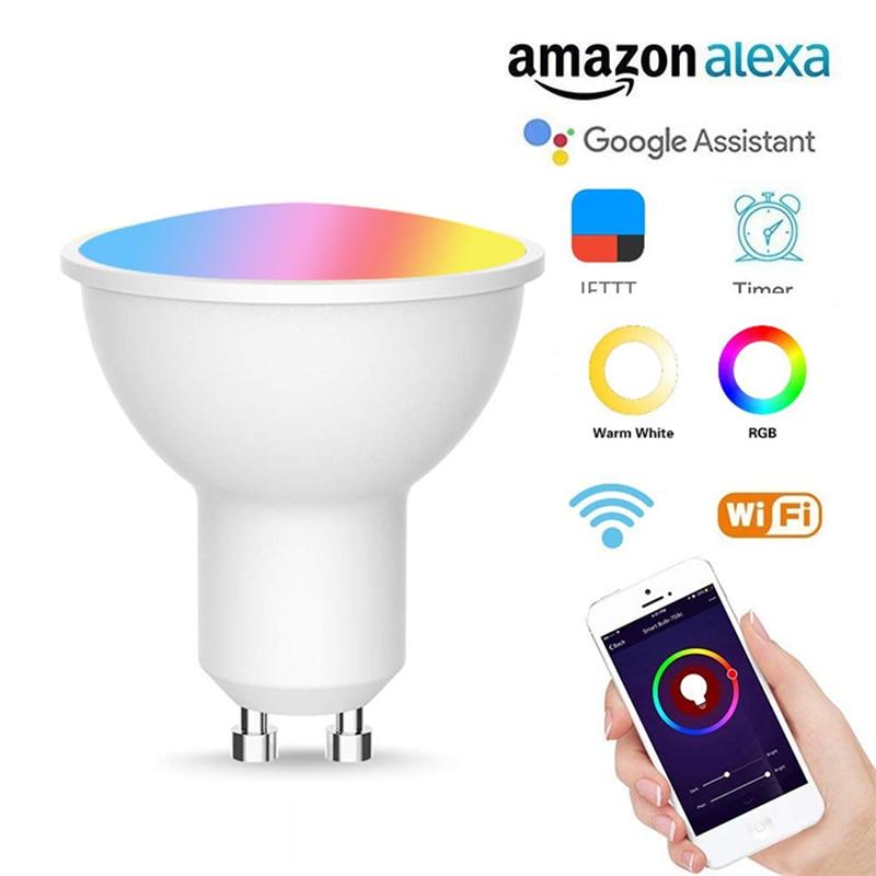 GU10 Светодиодный прожектор смарт-лампы потолочные светильники может быть подключен к Wi-Fi пульт для Управление и Alexa совместимый домашний гол...