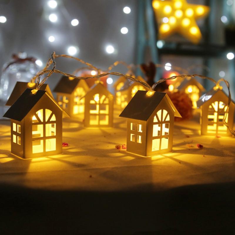 Xmas Tree Christmas Lighting LED Wood House String Light Holiday 2m 10LEDs String Lamp Wedding Party Fairy Lights Novelty Lamp