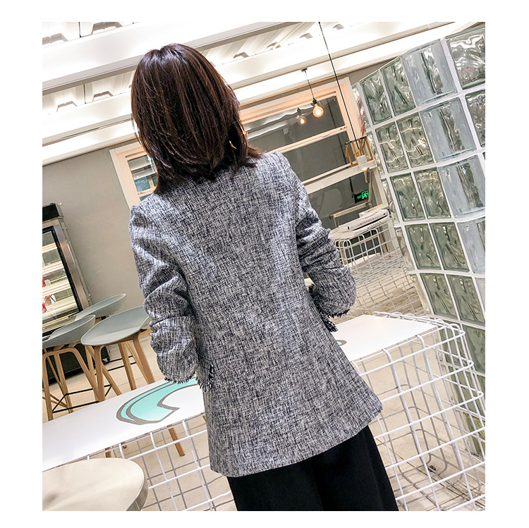 New Autumn 2020 Women Elegant Double Breasted Blazer Female Long Striped Jackets Work Wear Suit Abrigos Mujer LX2205