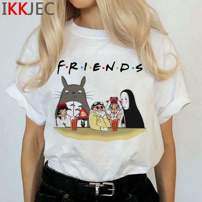 Totoro Harajuku Studio Ghibli T Shirt Women Miyazaki Hayao Ullzang Cute T-shirt Funny Cartoon Tshirt 90s Graphic Top Tees Female 9