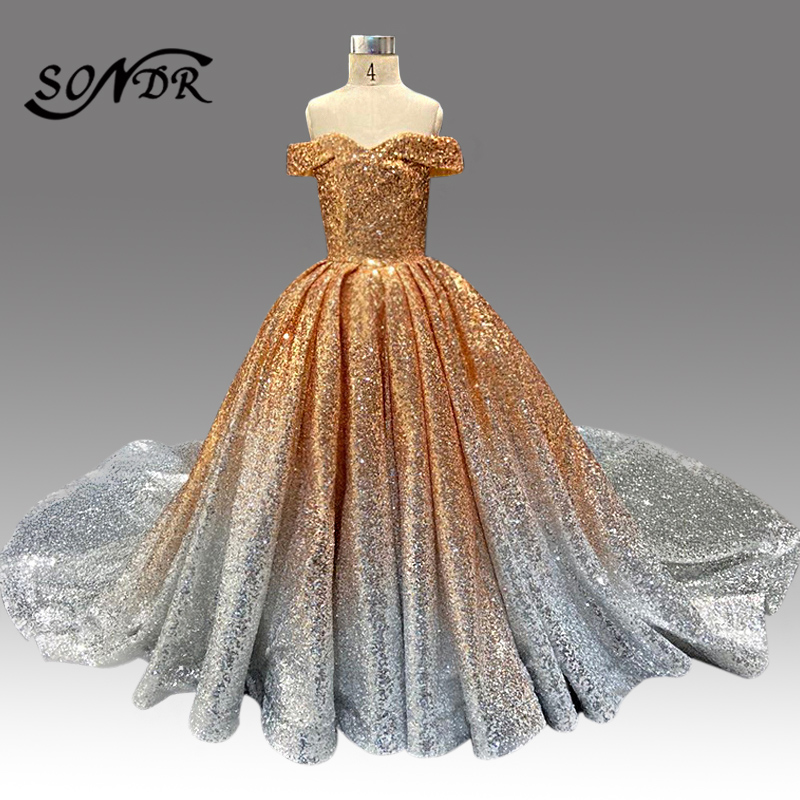 Sparkling Flower Girl Dress HT081 Off The Shoulder Kids Wedding Party Dress Gradient Sequined Long Pageant Ball Gowns For Girls