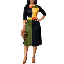 Grande Taille S-5XL Femme dentelle consue Trois-Quarts Manches Coutures Géométriques Col Rond Robe