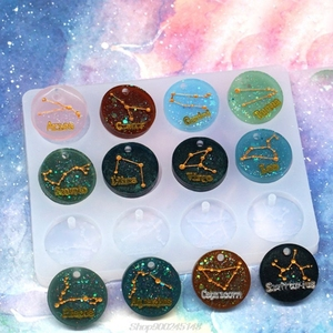 Crystal Epoxy Resin Mold 12 Constellations Pendant Casting Silicone Mould DIY Au11 20 Dropship