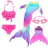 5pcs/set Girls Mermaid Tails Swimsuit With Monofins Swimming Costumes for Kids children Dress Swimmable Bikini Sets With Goggle