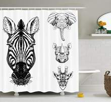 Animal Shower Curtain Sketch of Zebra Giraffe Elephant and Rhino Heads African Wildlife Animal Zoo Image Fabric Bathroom Decor(China)