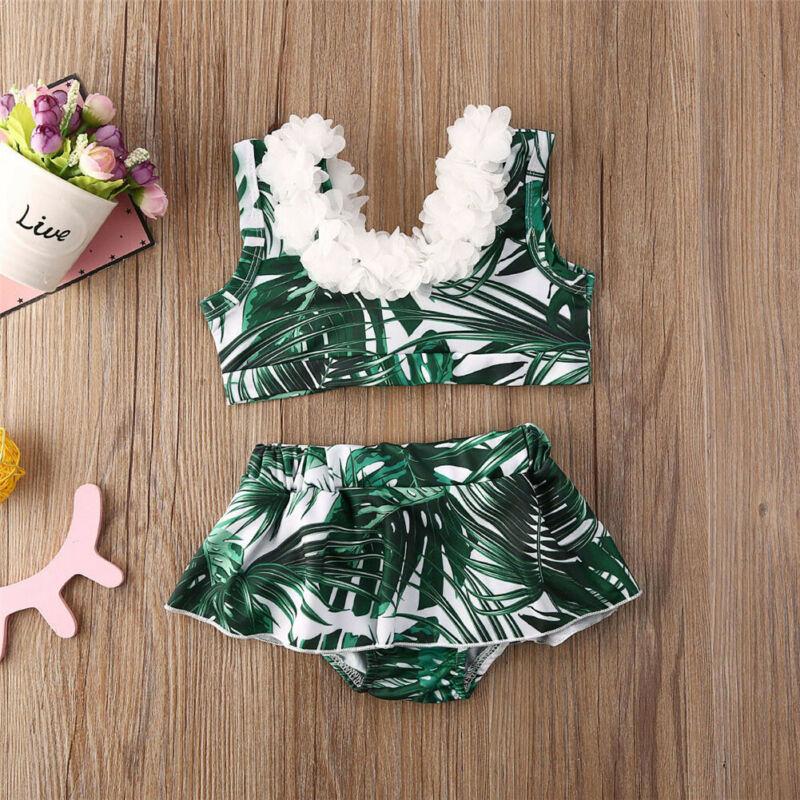 Kid Baby Girl Bikini Set Swimwear Swimsuit Bathing Beach Floral Costume 6M-5Y