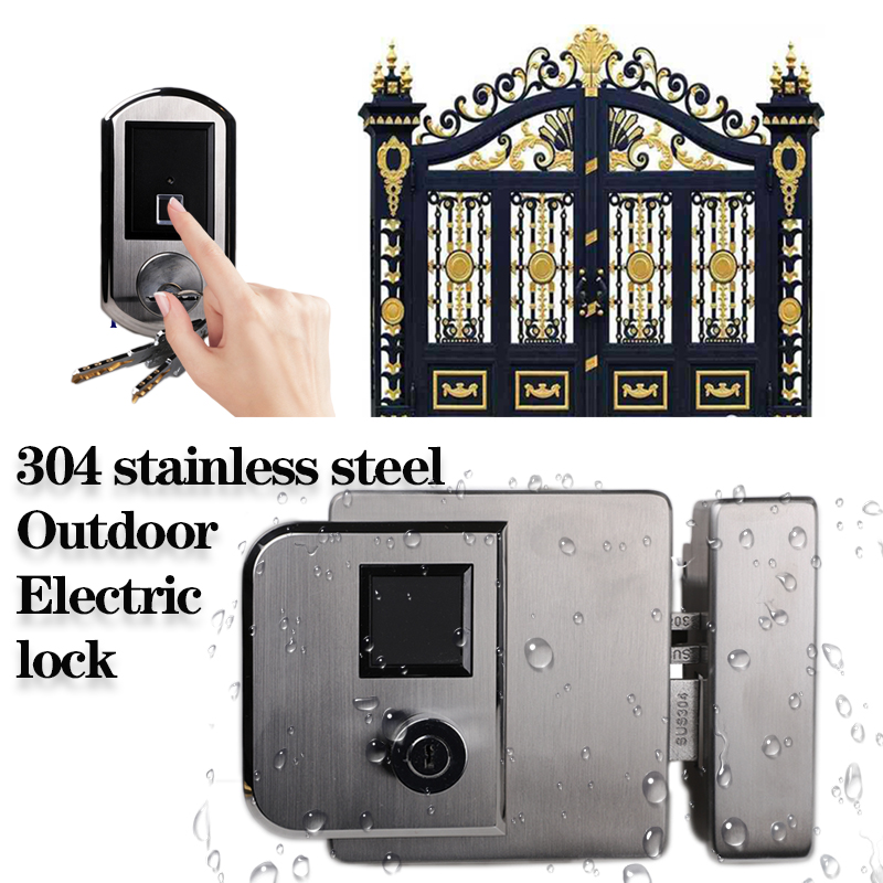 IP65 Weatherproof Electric Lock 304 Stainsteel Lock High Quality Outdoor Fingerprint Lock Wireless Door Locks For Gate Door
