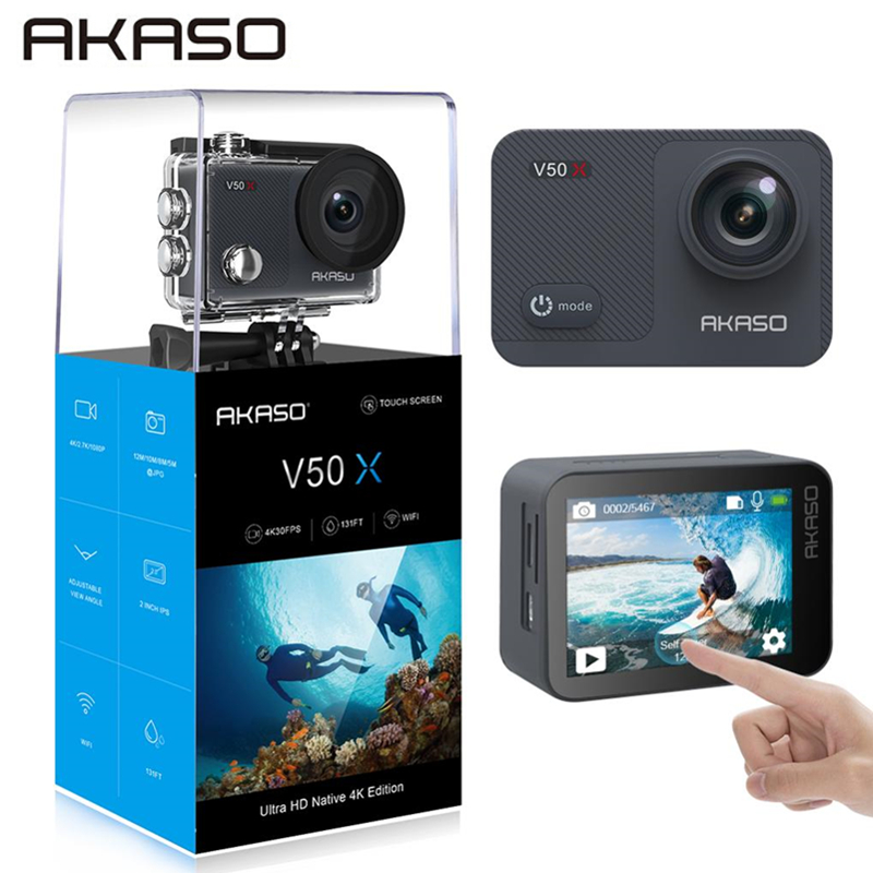 AKASO V50X Native 4K30fps WiFi Action Camera with EIS Touch Screen Adjustable View Angle 131 feet Waterproof Camera Sport Cam