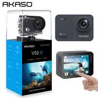 AKASO V50X natif 4K30fps WiFi caméra d'action avec EIS écran tactile Angle de vue réglable 131 pieds étanche caméra Sport Cam