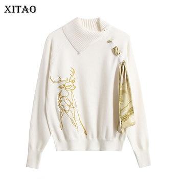 XITAO 2020 Spring New Sweater Elegant Bandage Asymmetry Turn down Collar Pullover Women Loose Fashion Embroidery Knitwear XJ3386