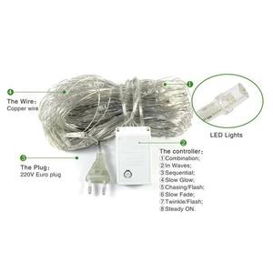 Image 4 - 1.5x1.5m 96 נוריות 8 מצבי האיחוד האירופי תקע 220V נטו LED מחרוזת אור פסטיבל חג מולד קישוט חדש שנה טקס חתונה עמיד למים