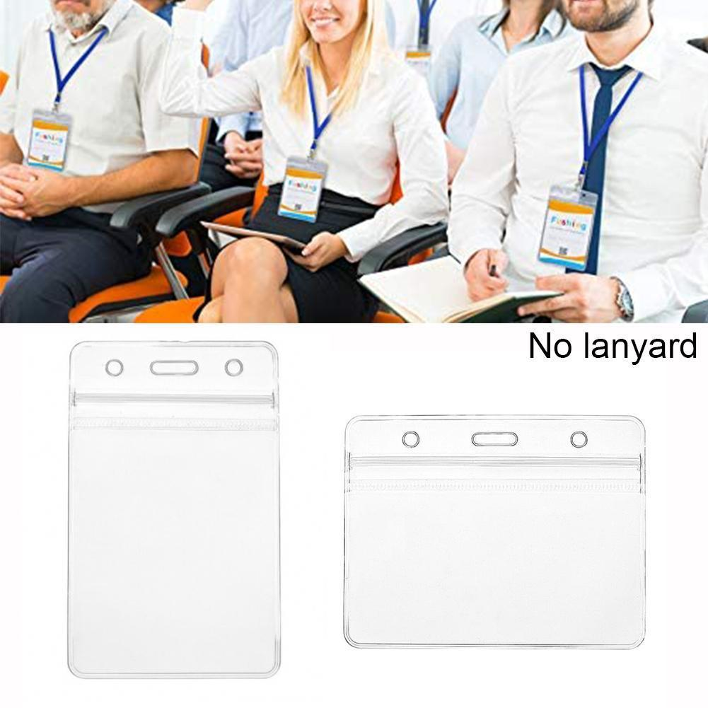 Transparent PVC Work Name Card Holders Business Work Pouch Card 8cmx10.5cm Card Protector Business ID Wallet Case Cover Poc C0E3