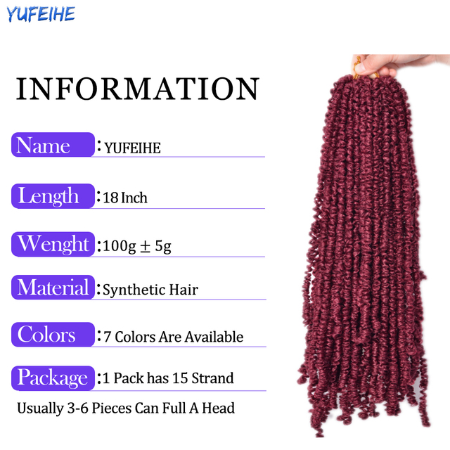 Spring Twist Locs Hair Passion Twist Crochet Hair Synthetic Braiding Hair Extensions 18Inch 100g/Pack Spring Twist Organic Hair 3