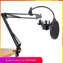 Newest NB-35 Mic Microphone Scissor Suspension Arm Stand and Table Mounting Clamp NW Filter Windscreen Shield Metal Mount Kit