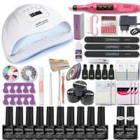 Маникюрный набор для маникюра, 80 Вт/54 Вт/36 Вт, УФ лампа, 10 цветов, набор гель-лака для ногтей, дрель, набор пилок для ногтей, инструмент, набор д...