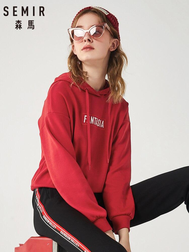 SEMIR Hoodies Women 2020 Spring Winter New Long Sleeve Pullover Hoodie Korean Loose Sweatershirt Tops Tide