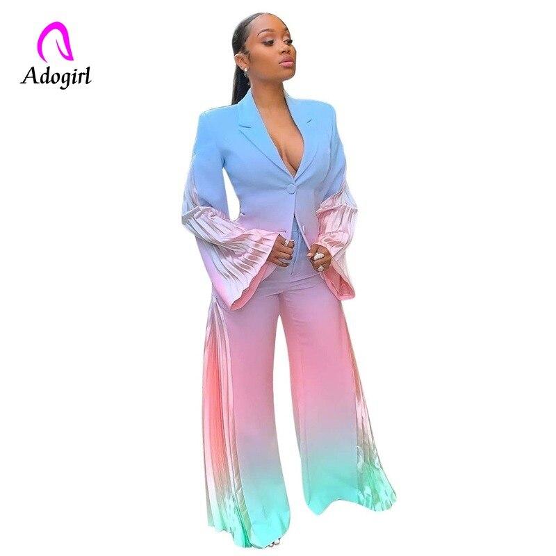 Красочный галстук с принтом Блейзер Женский Элегантный костюм из двух частей Блейзер плиссированные лоскутные брюки с цветовыми переходами Костюм женский комплект из 2 предметов блейзер