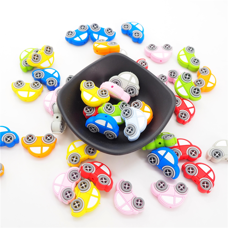 Chenkai 8PCS Silicone Car Beads Baby Cartoon Teething BPA Free For DIY Infant Soothing Pacifier Nursing Bracelet Toys Accessory
