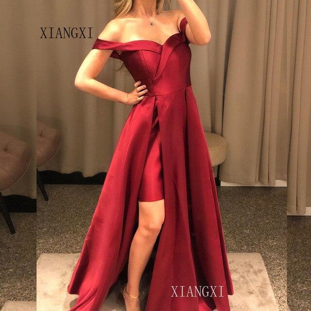 Byurgundy Evening Dresses Long Satin Formal Party Gowns Floor Length Evening Dress 2020 Vestido de festa