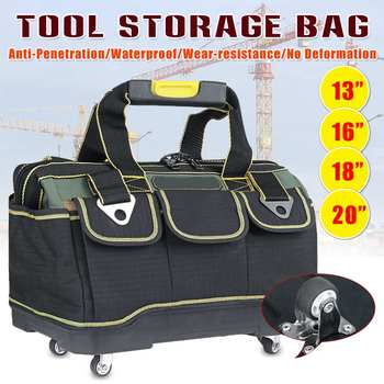 13/16/18inch Tool Bag Wide Mouth Electrician Bag With Wheels 1680D Oxford Cloth Tools Bag Organizer Thickened Bottom