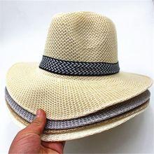 Cap Ribbon Bucket Sun-Hat Jazz Beach-Straw Wide-Brim Hollow-Out Vintage Summer Extra