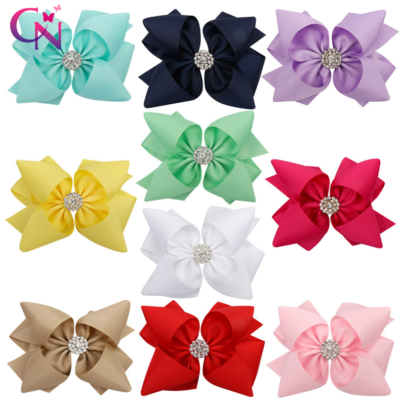 CN 10 Pcs/lot Solid Ribbon Hair Bow With Clips For Girls Rhinestone Knotted Double Layers Stacked Hair Clips Hair Accessories
