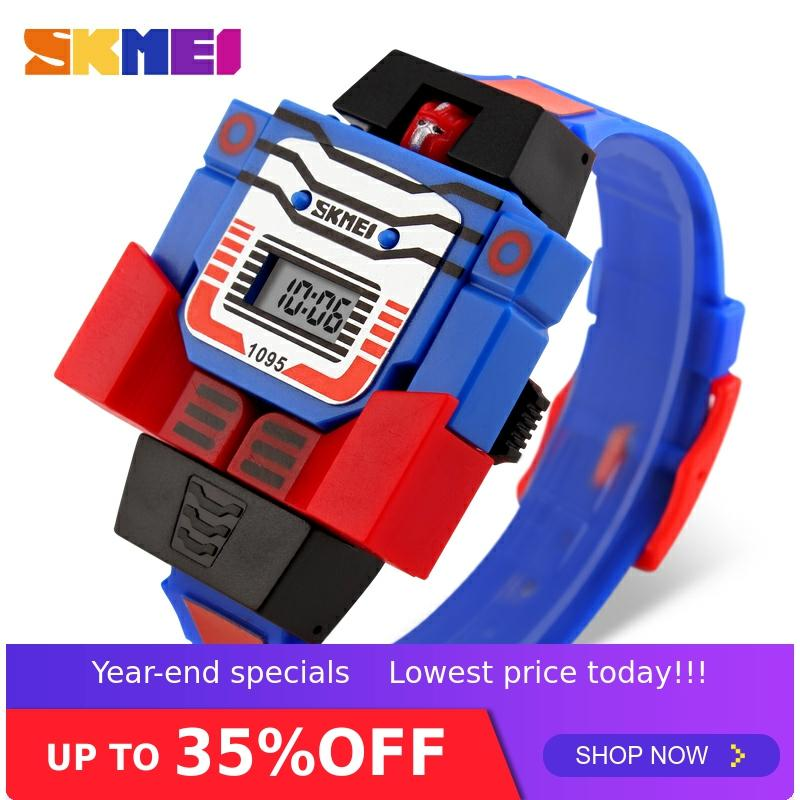 SKMEI 1095 Children Wristwatch Kids Boy Digital Watch Detachable Robot Deformation Toy
