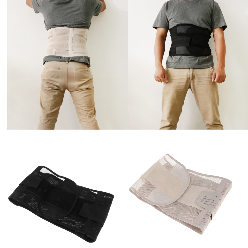 Men Adjustable Double Pull Lumbar Support Brace/Lower Back Belt Waist Trimmer - Various Color & Size