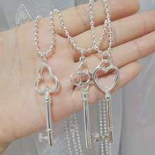 Pure 925 Silver Necklaces For Women Key Pendant Necklace 2mm Ball Chain Collier Femme Choker Fashion Jewelry Accesories Bijoux dream catche necklaces for women fashion jewelry dreamcatcher leaves pendant necklace choker collier bijoux vintage jewelry