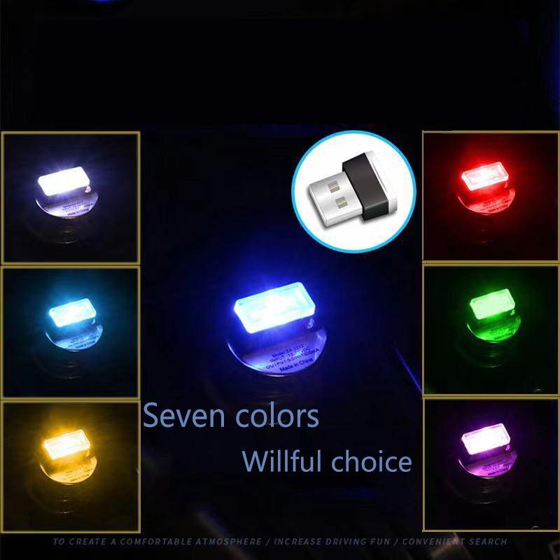 1 piece of mini car atmosphere light led 7 colors optional, interior decoration free replacement decorative light car USB lighti