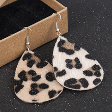 Faux Leather Leaf Earrings Teardrop Dangle Drop Leopard Print Hollow Hook 1 Pair Vintage Long  Bohemian Earrings