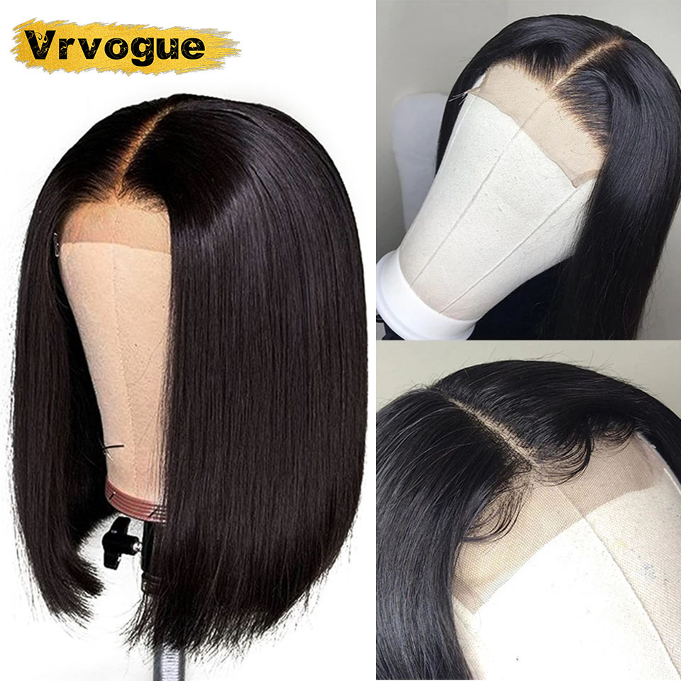 Short Human Hair Wigs For Women Brazilian Straight 4X4 Closure Wig Pre Plucked Bob Wig Natural Hairline Vrvogue 8-16 Inch